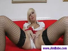 Blonde in stockings and old...
